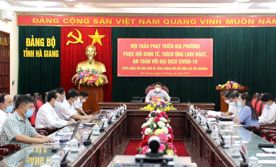 Các đại biểu dự hội thảo tại điểm cầu tỉnh Hà Giang.